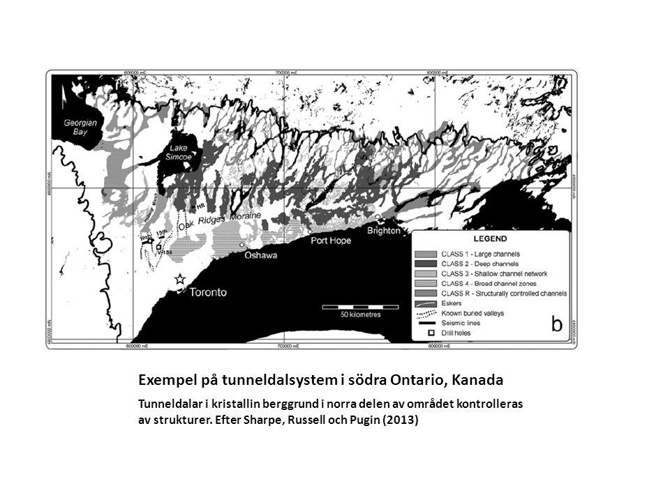 Exempel på tunneldalsystem i södra Ontario, Kanada