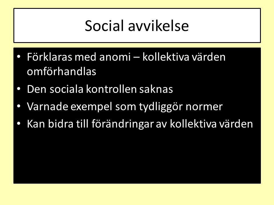 Social avvikelse Förklaras med anomi – kollektiva värden omförhandlas