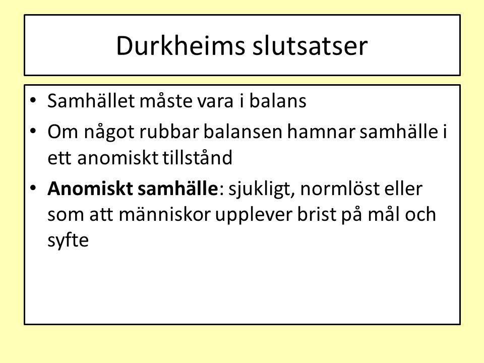 Durkheims slutsatser Samhället måste vara i balans