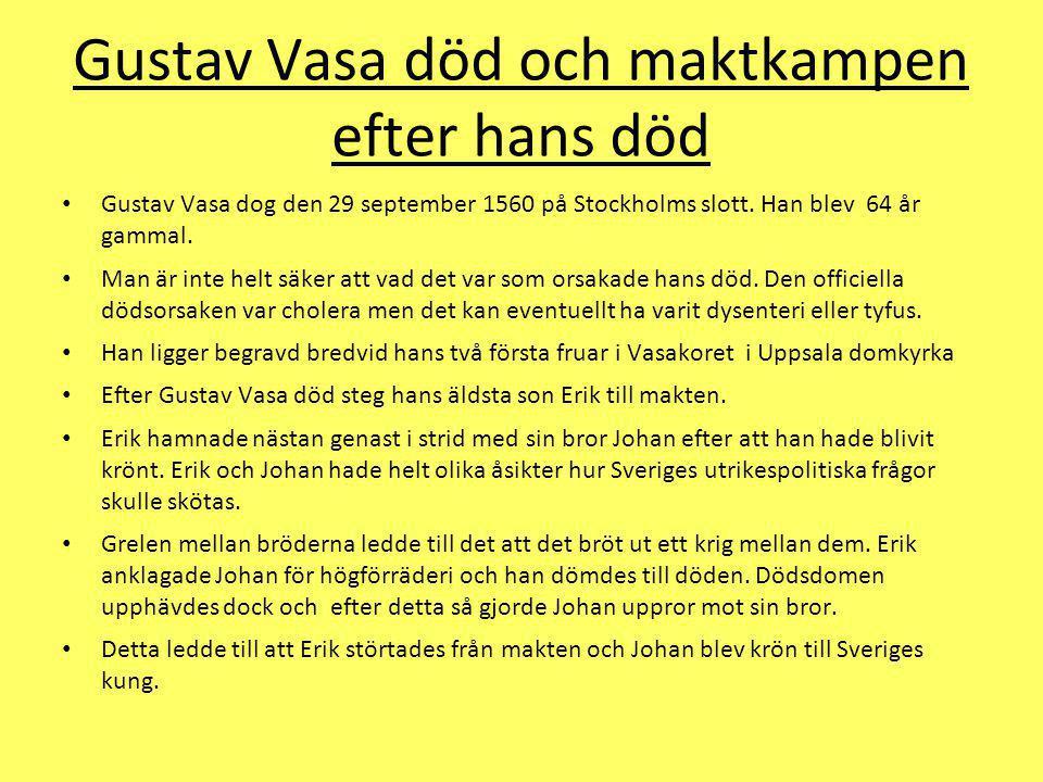 Gustav Vasa död och maktkampen efter hans död