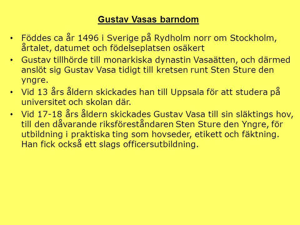 Föddes ca år 1496 i Sverige på Rydholm norr om Stockholm, årtalet, datumet och födelseplatsen osäkert