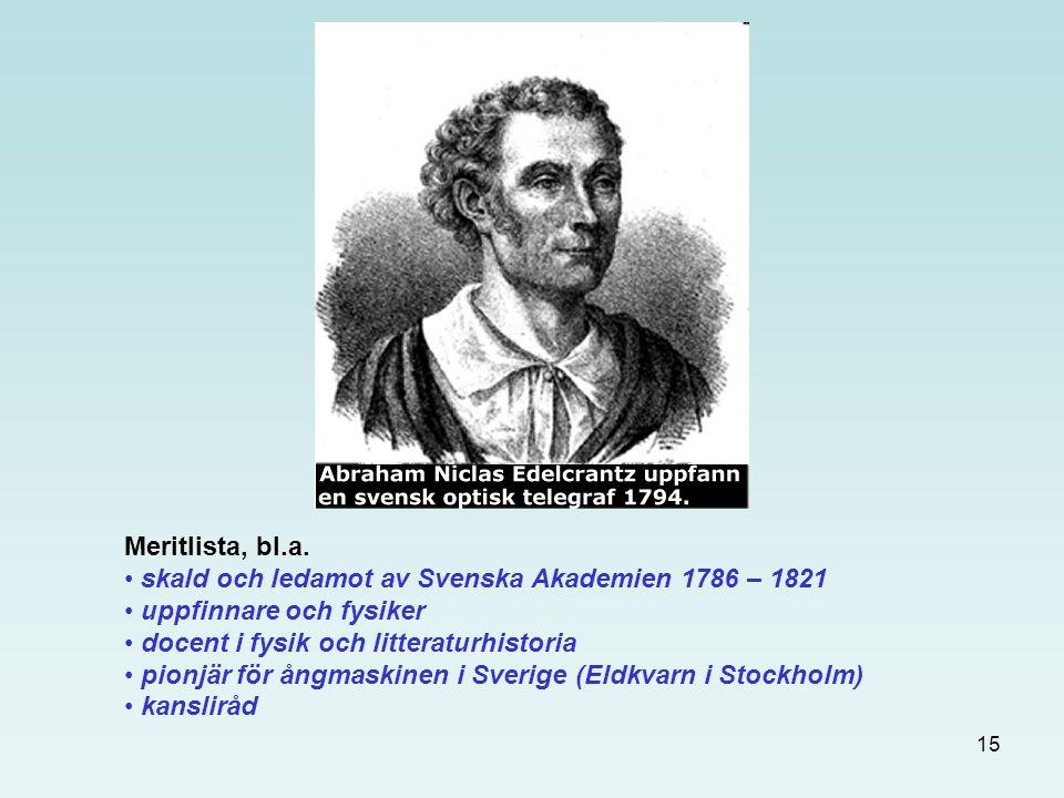 Meritlista, bl.a. skald och ledamot av Svenska Akademien 1786 – 1821. uppfinnare och fysiker. docent i fysik och litteraturhistoria.