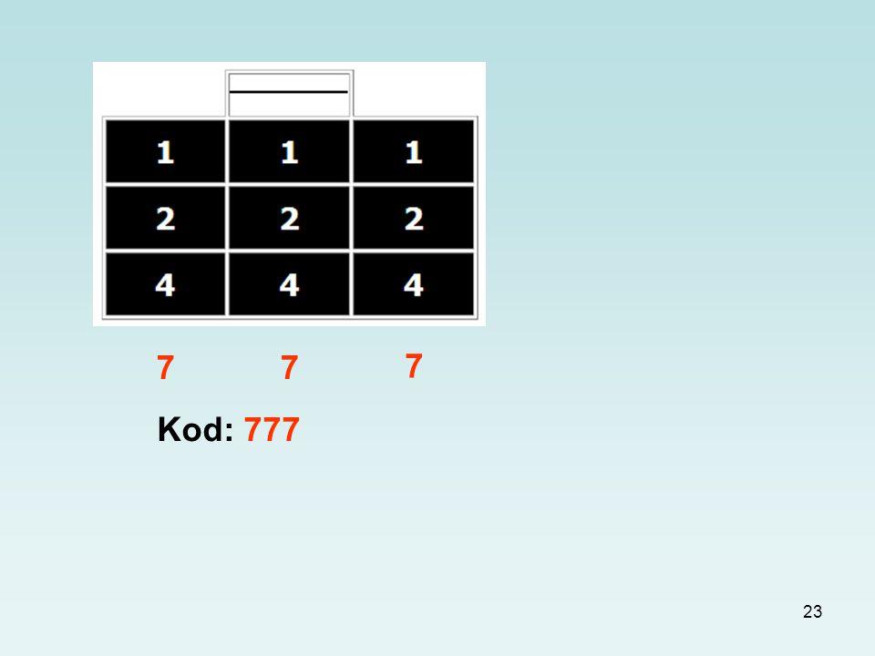 7 7 7 Kod: 777