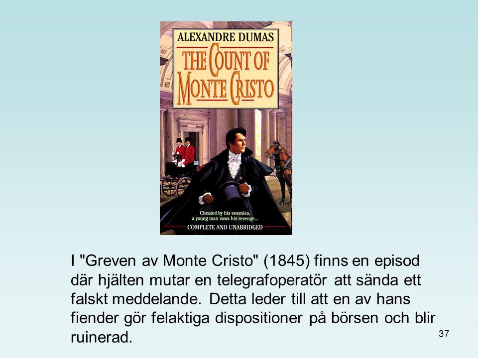 I Greven av Monte Cristo (1845) finns en episod där hjälten mutar en telegrafoperatör att sända ett falskt meddelande.