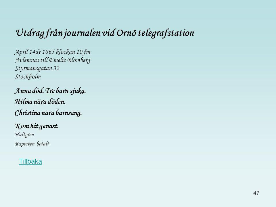 Utdrag från journalen vid Ornö telegrafstation
