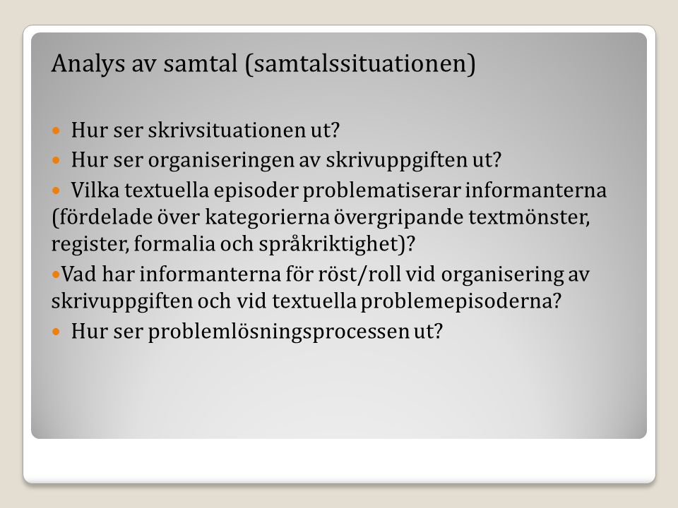 Analys av samtal (samtalssituationen)