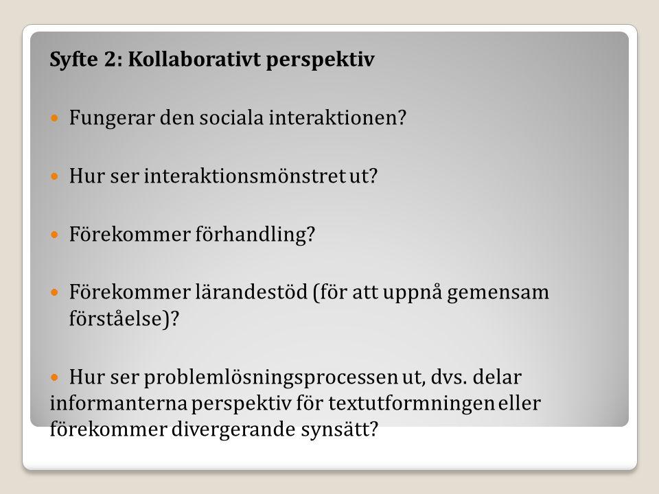 Syfte 2: Kollaborativt perspektiv