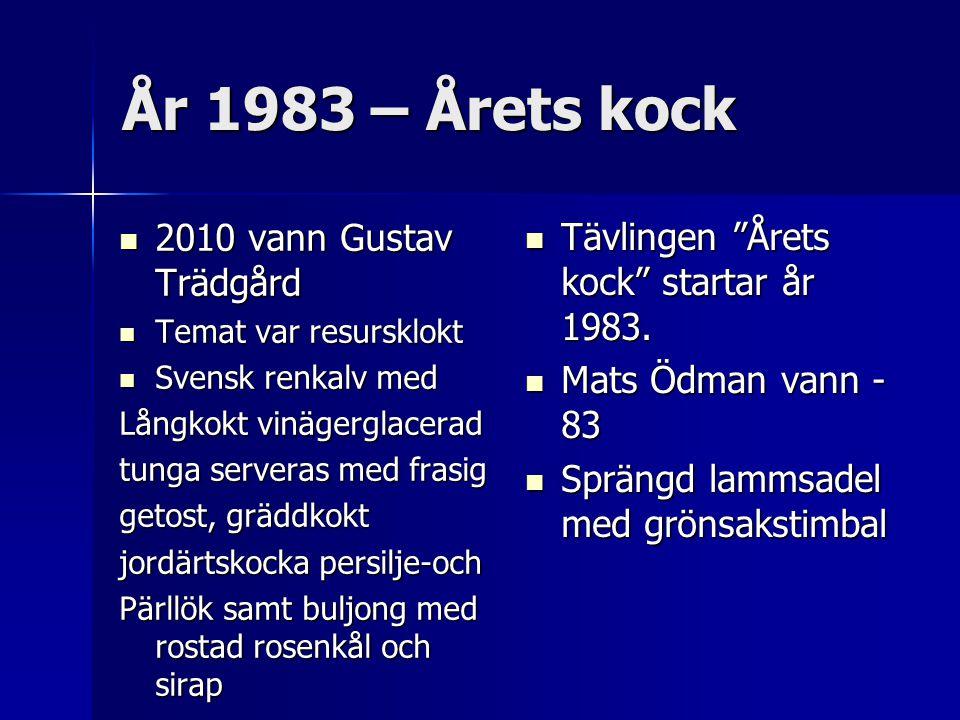 År 1983 – Årets kock 2010 vann Gustav Trädgård