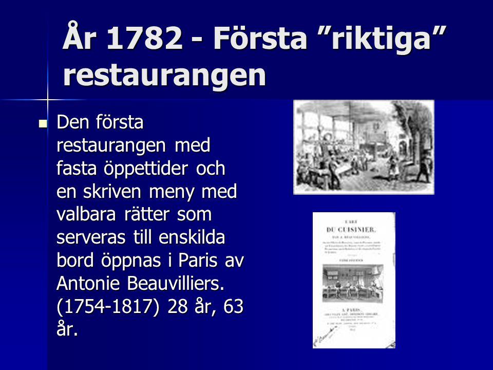 År 1782 - Första riktiga restaurangen
