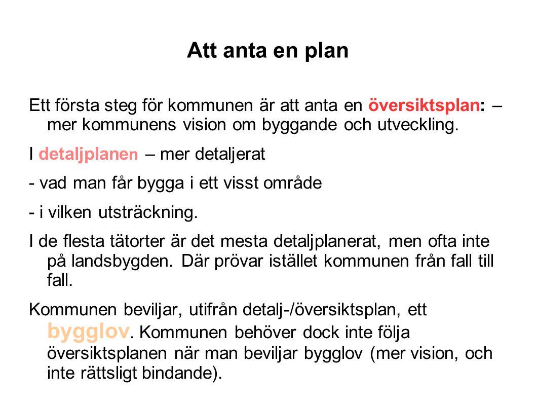 Att anta en plan Ett första steg för kommunen är att anta en översiktsplan: – mer kommunens vision om byggande och utveckling.