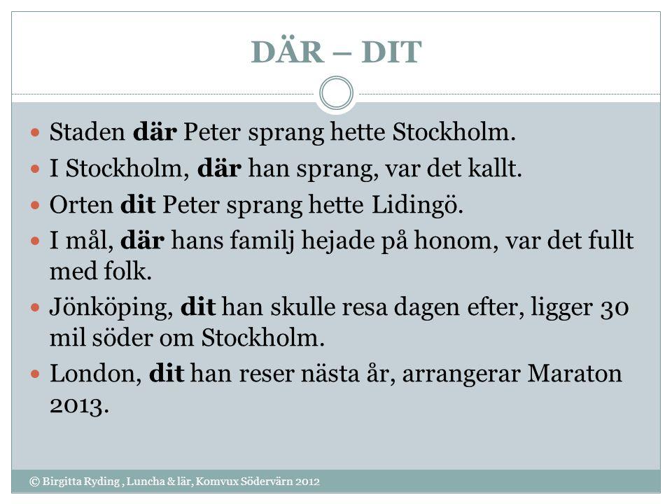 DÄR – DIT Staden där Peter sprang hette Stockholm.