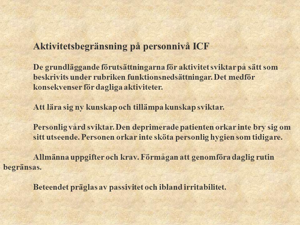 Aktivitetsbegränsning på personnivå ICF