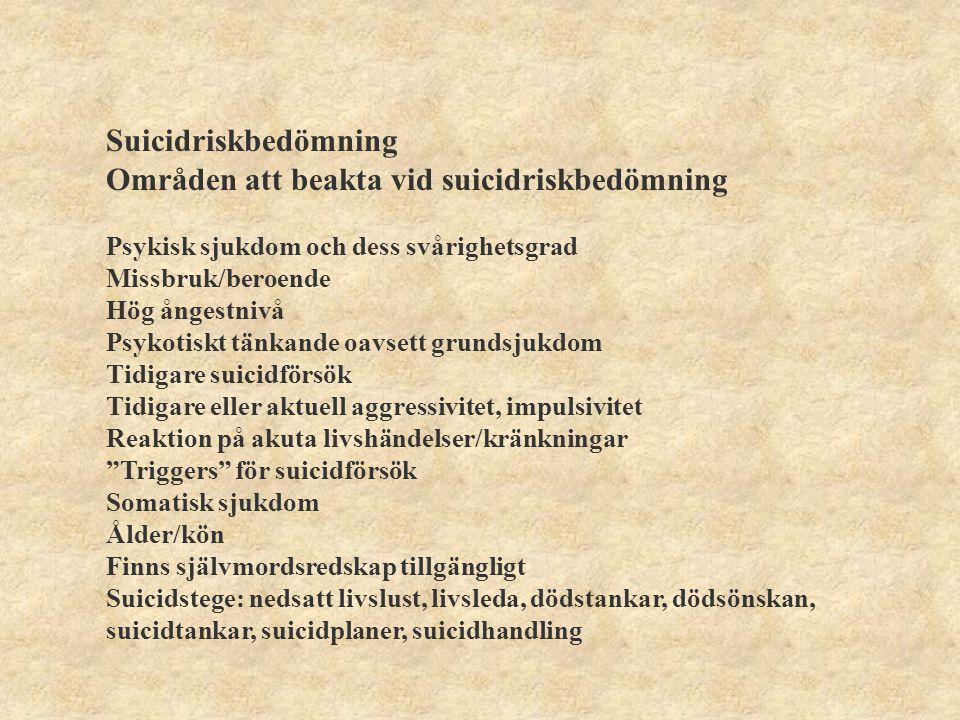 Områden att beakta vid suicidriskbedömning