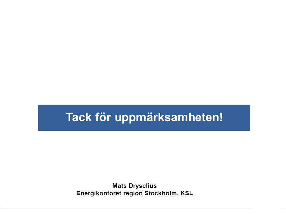 Tack för uppmärksamheten! Energikontoret region Stockholm, KSL