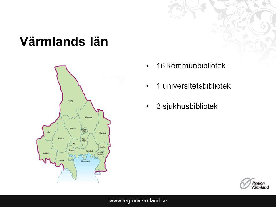 Värmlands län 16 kommunbibliotek 1 universitetsbibliotek