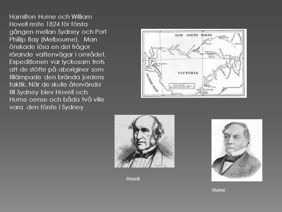 Hamilton Hume och William Hovell reste 1824 för första gången mellan Sydney och Port Phiilip Bay (Melbourne). Man önskade lösa en del frågor rörande vattenvägar i området. Expeditionen var lyckosam trots att de stötte på aboriginer som tillämpade den brända jordens taktik. När de skulle återvända till Sydney blev Hovell och Hume oense och båda två ville vara den förste i Sydney