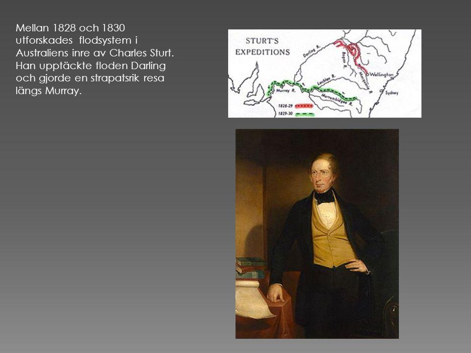 Mellan 1828 och 1830 utforskades flodsystem i Australiens inre av Charles Sturt.