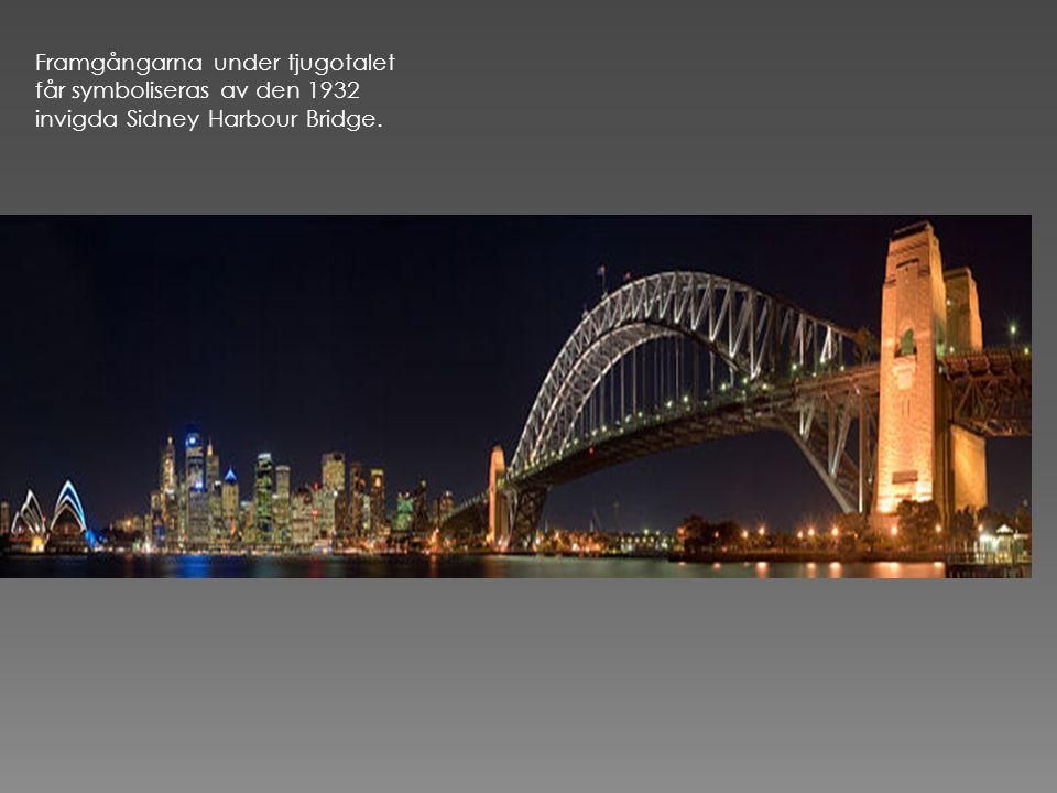 Framgångarna under tjugotalet får symboliseras av den 1932 invigda Sidney Harbour Bridge.
