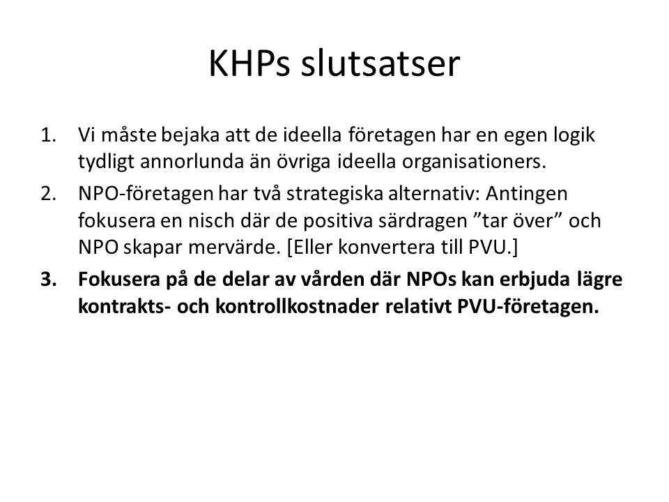 KHPs slutsatser Vi måste bejaka att de ideella företagen har en egen logik tydligt annorlunda än övriga ideella organisationers.