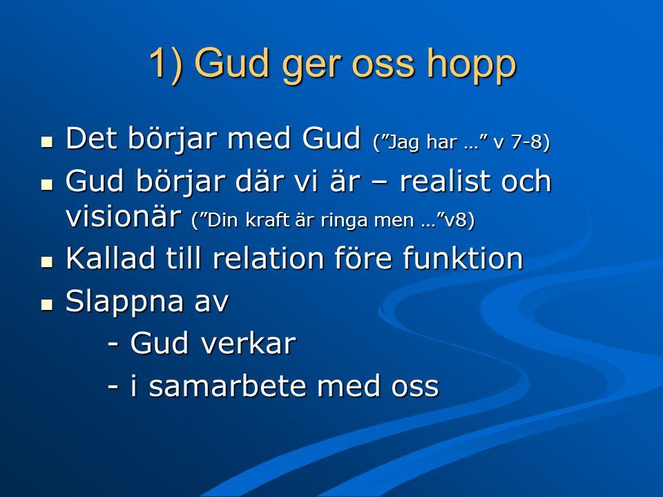 1) Gud ger oss hopp Det börjar med Gud ( Jag har … v 7-8)