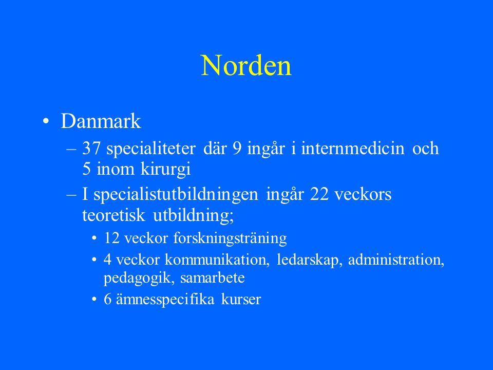 Norden Danmark. 37 specialiteter där 9 ingår i internmedicin och 5 inom kirurgi. I specialistutbildningen ingår 22 veckors teoretisk utbildning;