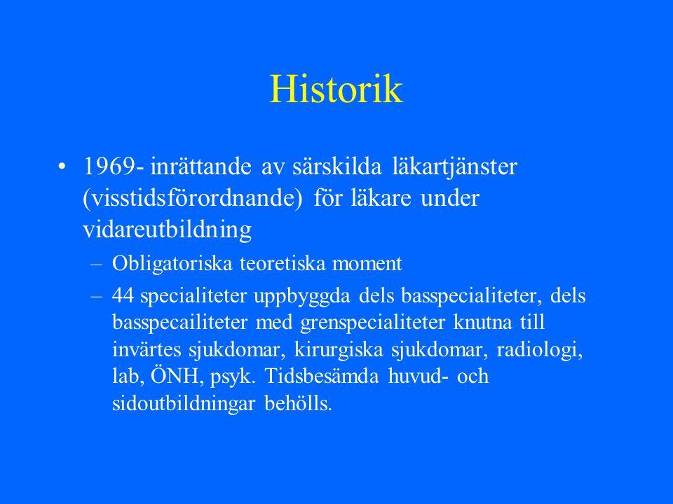 Historik 1969- inrättande av särskilda läkartjänster (visstidsförordnande) för läkare under vidareutbildning.