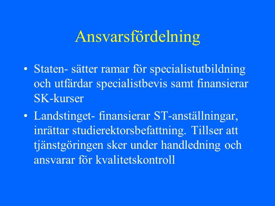 Ansvarsfördelning Staten- sätter ramar för specialistutbildning och utfärdar specialistbevis samt finansierar SK-kurser.
