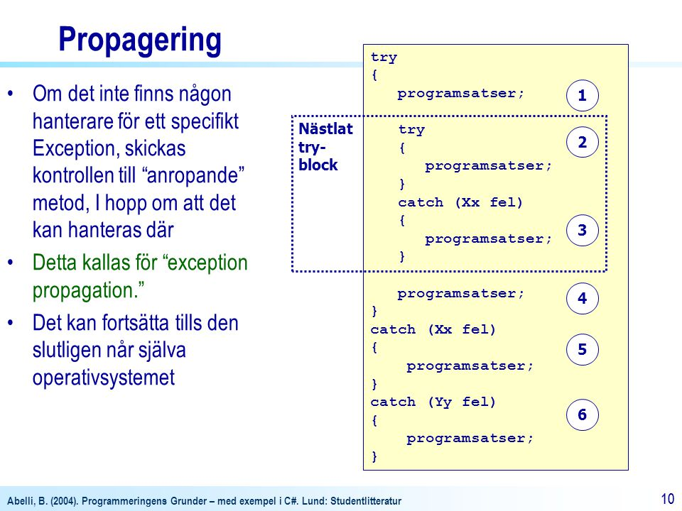 Propagering try. { programsatser; } catch (Xx fel) catch (Yy fel)