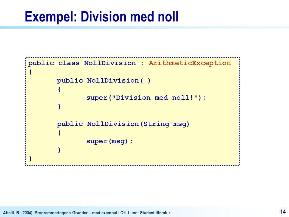 Exempel: Division med noll