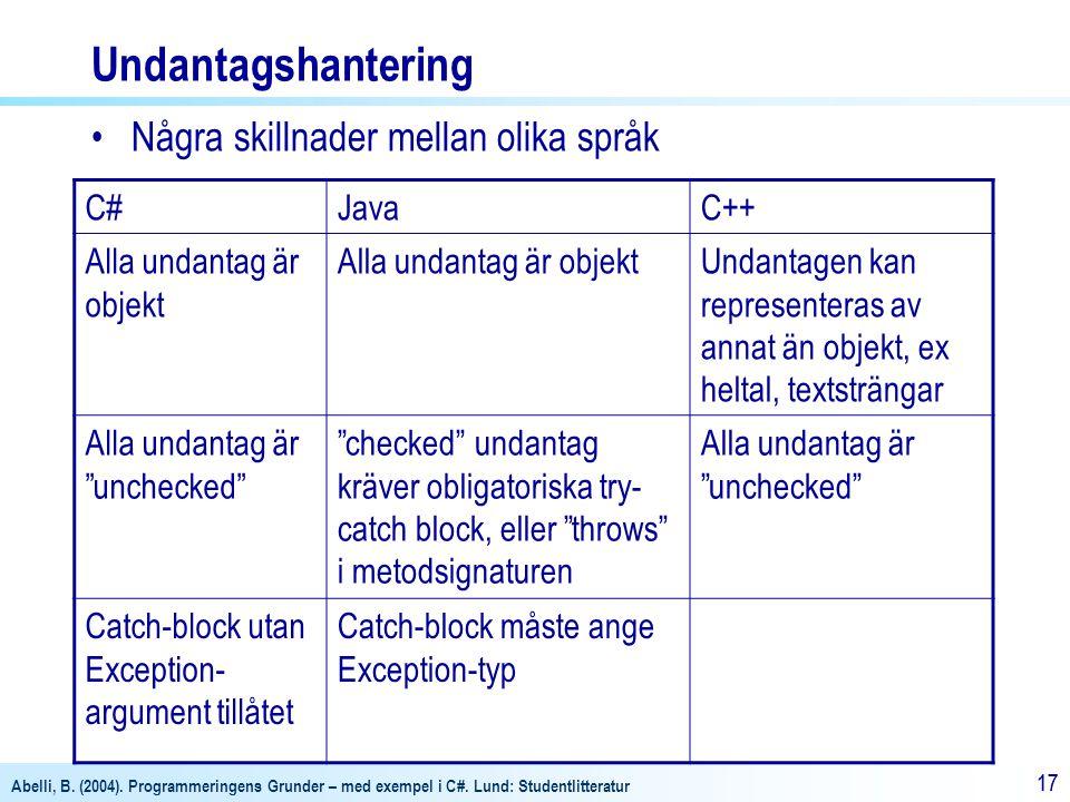 Undantagshantering Några skillnader mellan olika språk C# Java C++