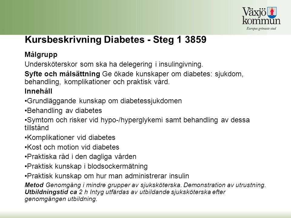 Kursbeskrivning Diabetes - Steg 1 3859