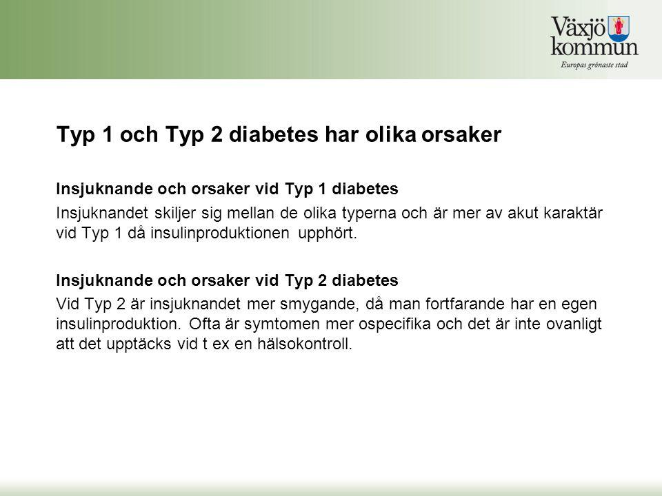 Typ 1 och Typ 2 diabetes har olika orsaker