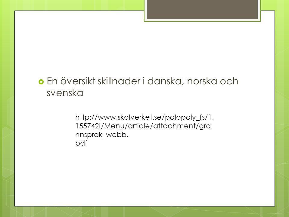 En översikt skillnader i danska, norska och svenska