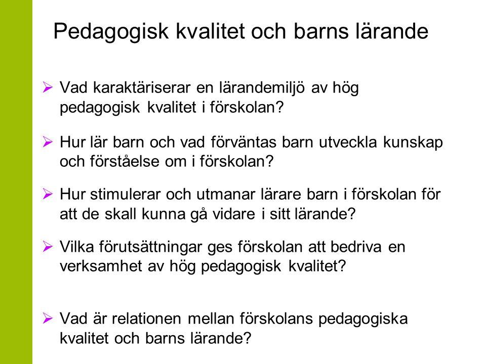 Pedagogisk kvalitet och barns lärande