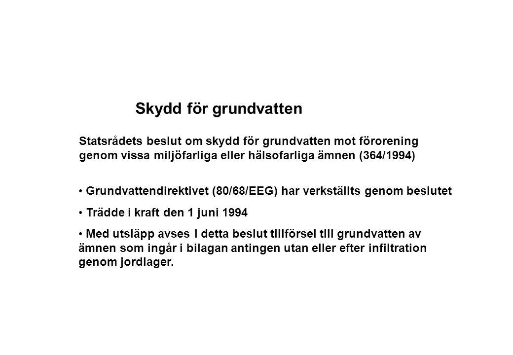 Skydd för grundvatten Statsrådets beslut om skydd för grundvatten mot förorening genom vissa miljöfarliga eller hälsofarliga ämnen (364/1994)