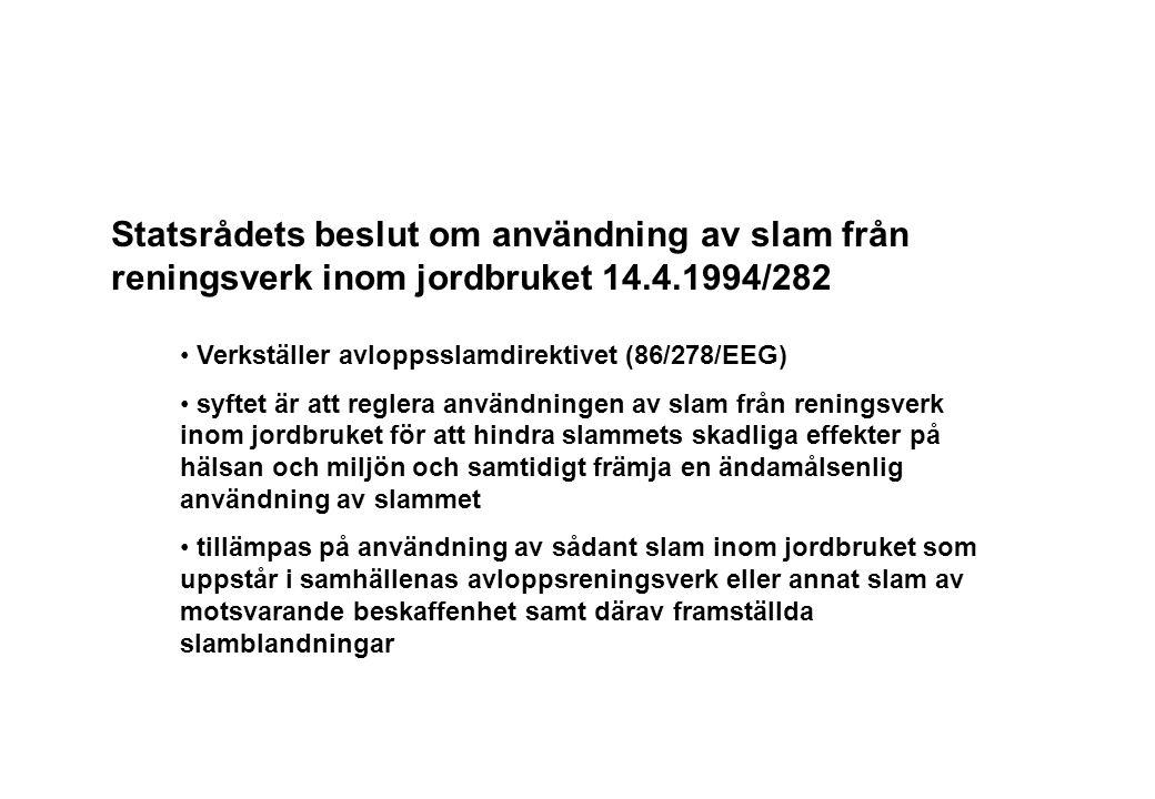 Statsrådets beslut om användning av slam från reningsverk inom jordbruket 14.4.1994/282
