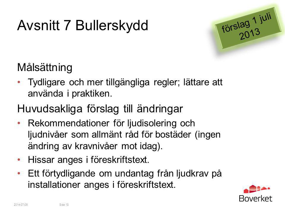 Avsnitt 7 Bullerskydd Målsättning Huvudsakliga förslag till ändringar
