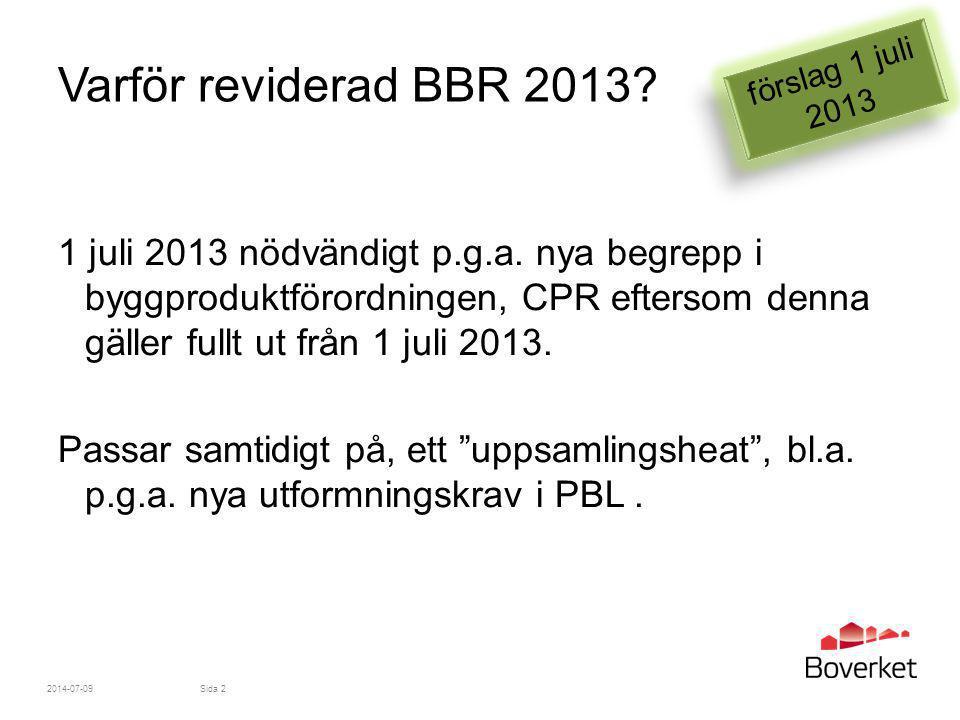Varför reviderad BBR 2013 förslag 1 juli 2013.