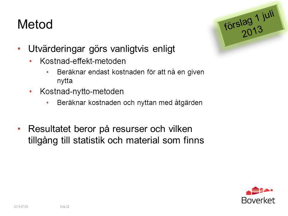 Metod förslag 1 juli 2013 Utvärderingar görs vanligtvis enligt