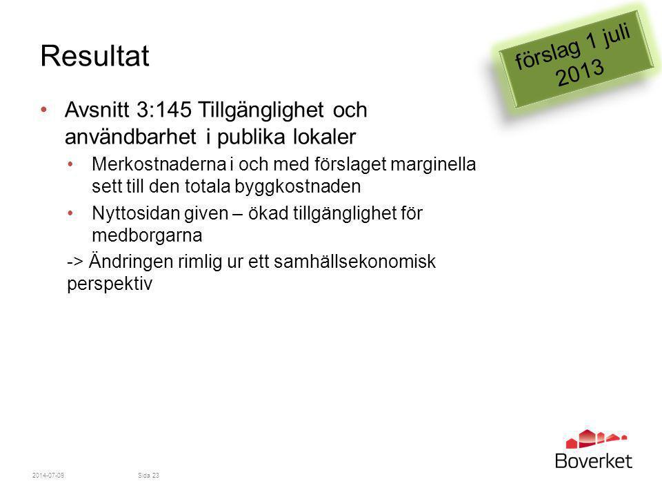 förslag 1 juli 2013 Resultat. Avsnitt 3:145 Tillgänglighet och användbarhet i publika lokaler.