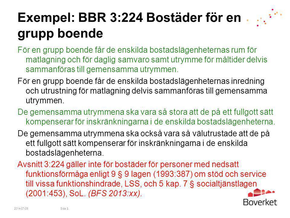Exempel: BBR 3:224 Bostäder för en grupp boende