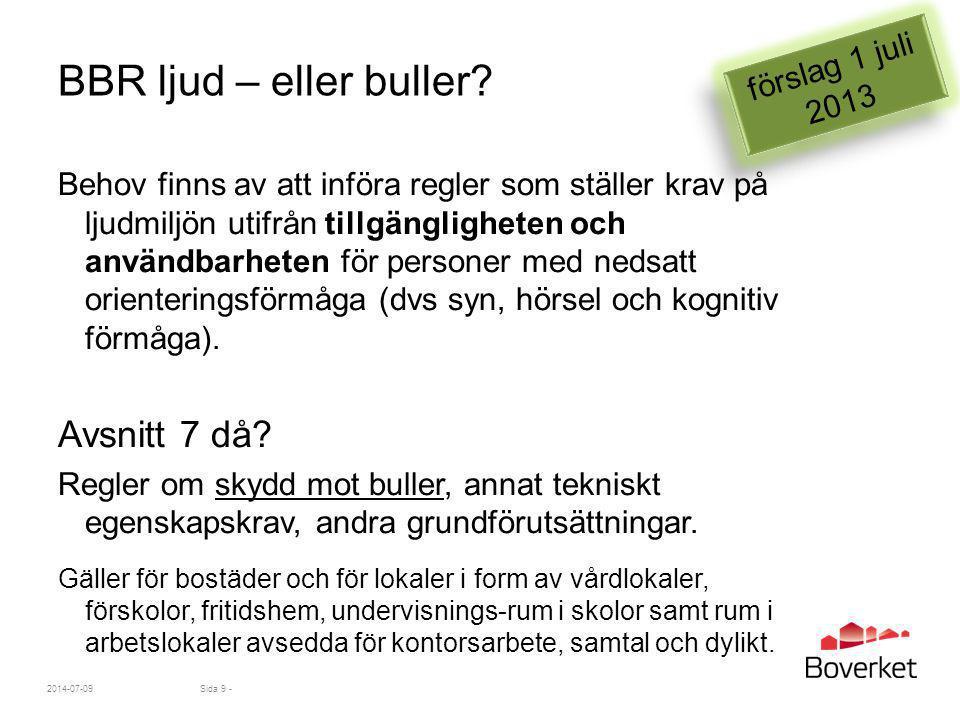 BBR ljud – eller buller Avsnitt 7 då förslag 1 juli 2013