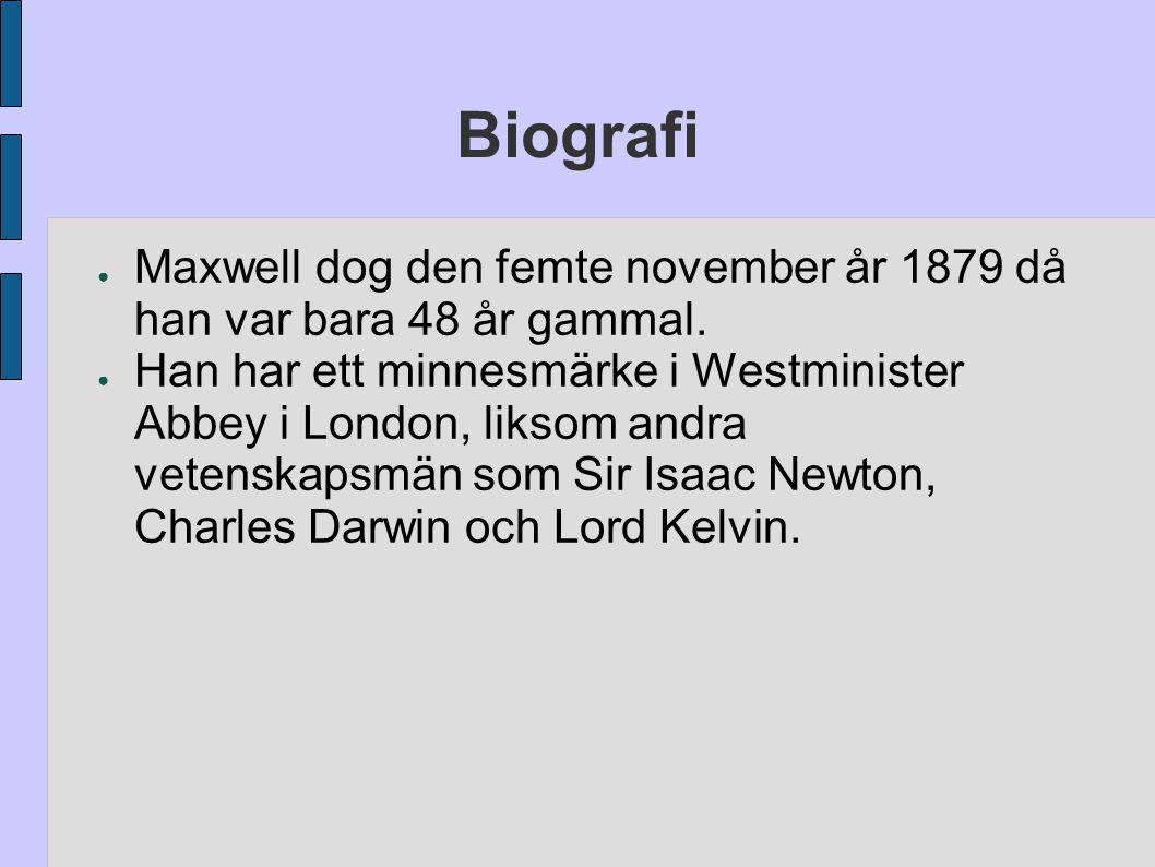 Biografi Maxwell dog den femte november år 1879 då han var bara 48 år gammal.