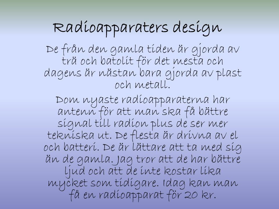 Radioapparaters design