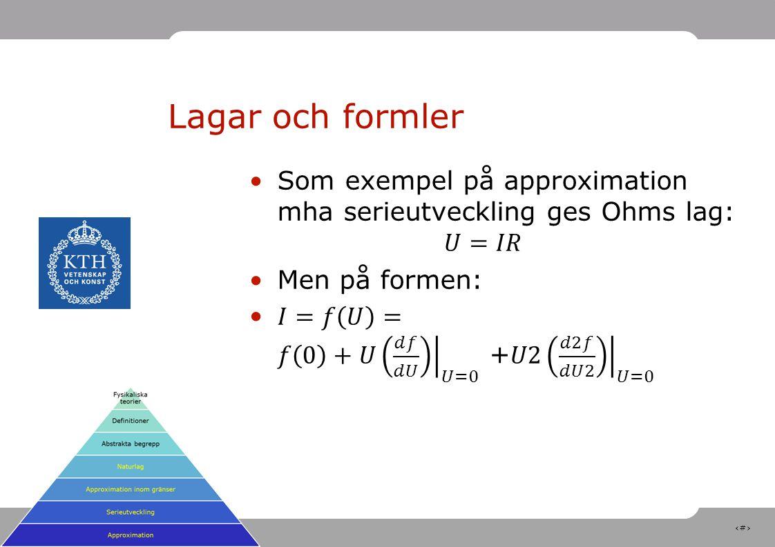 Lagar och formler Som exempel på approximation mha serieutveckling ges Ohms lag: 𝑈=𝐼𝑅. Men på formen:
