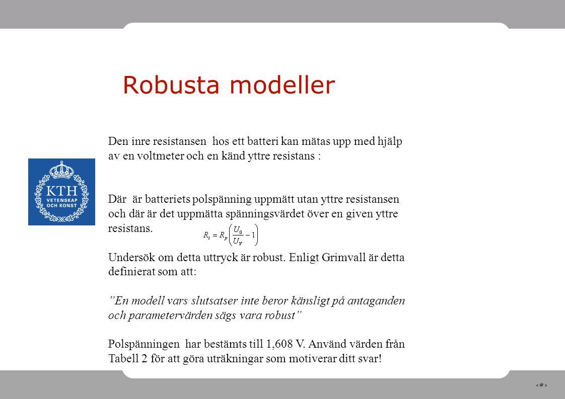 Robusta modeller Den inre resistansen hos ett batteri kan mätas upp med hjälp av en voltmeter och en känd yttre resistans :