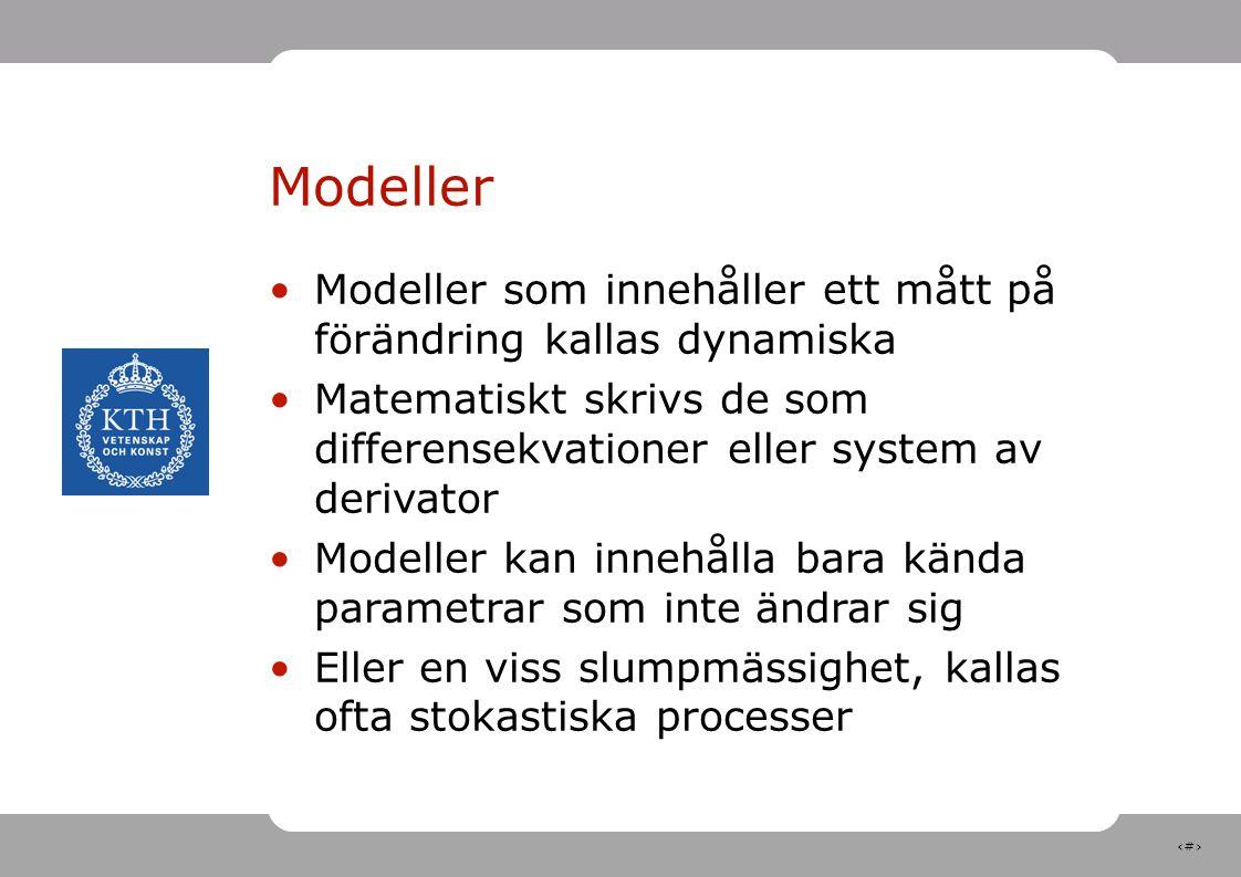 Modeller Modeller som innehåller ett mått på förändring kallas dynamiska. Matematiskt skrivs de som differensekvationer eller system av derivator.