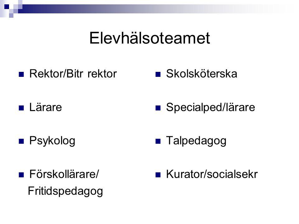 Elevhälsoteamet Rektor/Bitr rektor Lärare Psykolog Förskollärare/