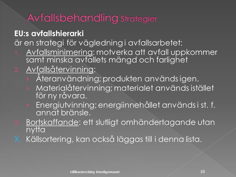 Avfallsbehandling Strategier