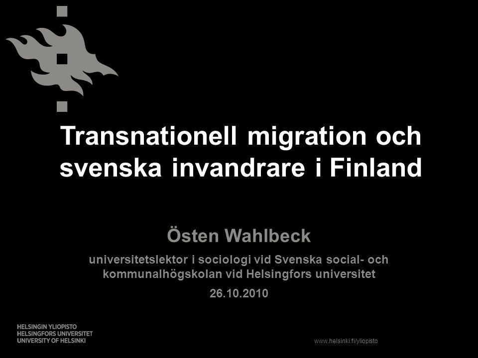 Transnationell migration och svenska invandrare i Finland